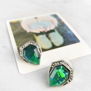 Green Iridescent Stud Earrings